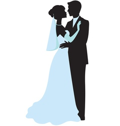 Bride and groom silhouettes vector