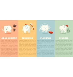 Oral hygiene booklet with cute tooth vector
