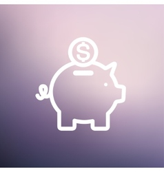 Piggy bank and dollar coin thin line icon vector