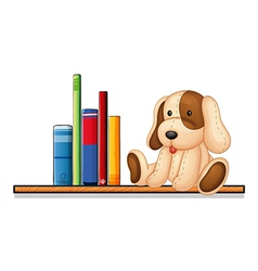 A shelf with books and a toy vector