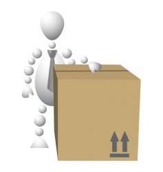 Man with brown cardboard box vector