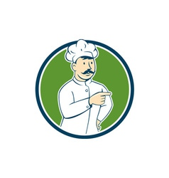 Chef cook mustache pointing circle cartoon vector