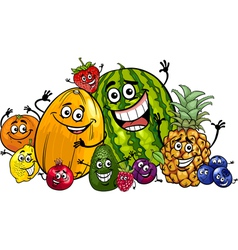 Funny fruits group cartoon vector