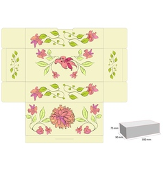 Stylized template for box with flowers vector