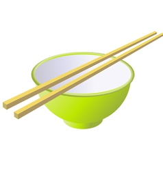 Bowl and chopsticks vector