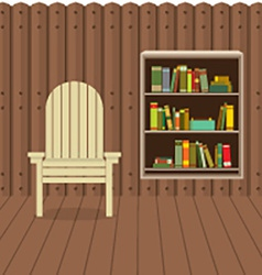 Empty chair on wood wall and ground with bookcase vector