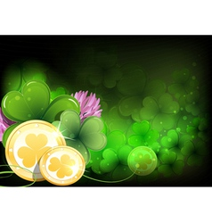 Leprechaun gold coins and clover vector