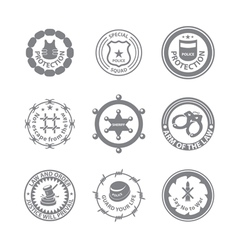 Set of protection badges and labels vector
