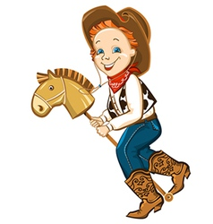 Cowboy kid and toy horse vector