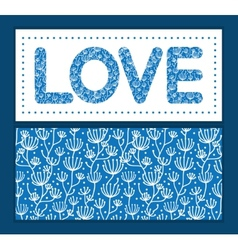 Blue white lineart plants love text frame pattern vector
