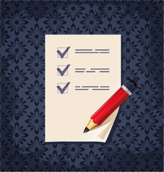 Check list paper with red pencil vector