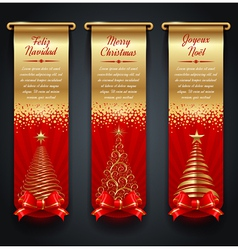 Banners with greetings and christmas trees vector