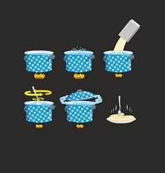 Cooking pasta icons set vector