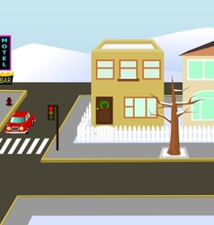 Christams town view vector