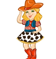 Cowgirl child isolated on white vector