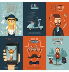Hipster flat icons composition poster vector