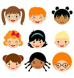 Kids faces 2 vector