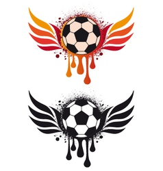 Soccer ball with fire wing vector