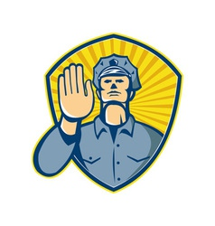 Policeman police officer hand stop shield vector