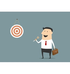 Cartoon flat businessman with dart and target vector