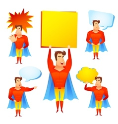 Superhero cartoon character with speech bubbles vector