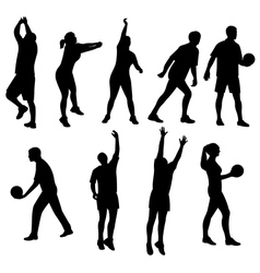 People playing volleyball silhouette vector