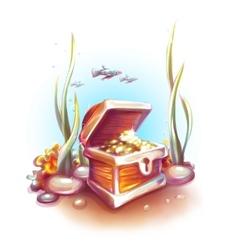 Treasure chest in ocean vector