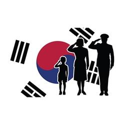 South korea soldier family salute vector