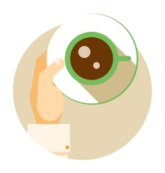 Coffee cup circular icon vector