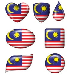 Malaysian flag in various shape glossy button vector