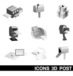 Icon set 3d post vector