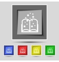 Magic book sign icon open book symbol set of vector