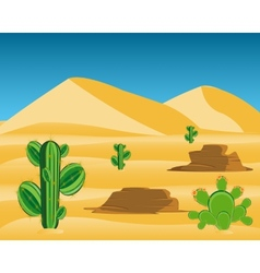 Desert with cactus vector
