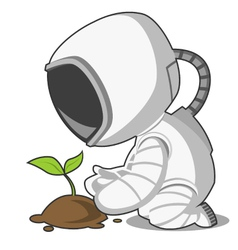 Astronaut and plant vector