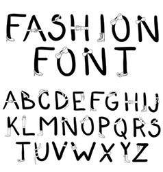 Fashion font with accessories vector