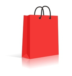 Blank red paper shopping bag with black rope vector