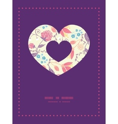 Fresh field flowers and leaves heart symbol vector