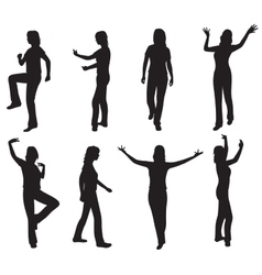 Women silhouettes on white vector