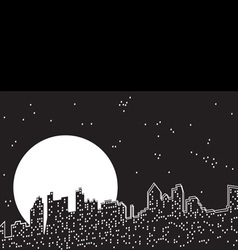 City moon night vector