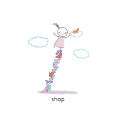 A girl in a shoe shop vector