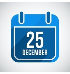 December 25 calendar icon flat icon with long vector