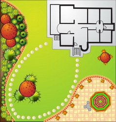 Landscape plan with treetop symbols vector