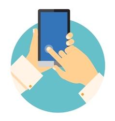 Hands holding a mobile phone circular icon vector