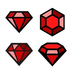 Ruby icons set vector