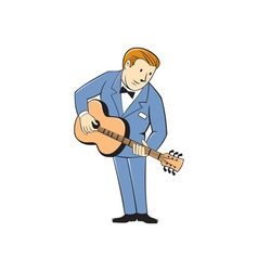 Musician guitarist standing guitar cartoon vector