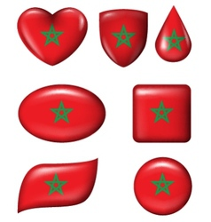 Morocco flag in various shape glossy button vector
