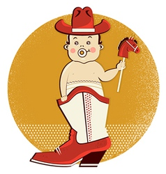 Cowboy baby in western boot vector