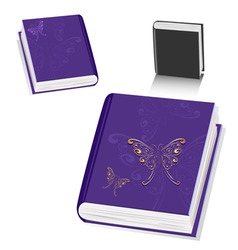 Book with a butterfly gold vector