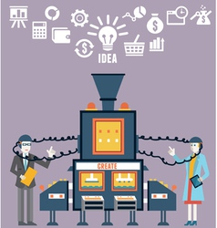 Businessman and businesswoman create ideas vector