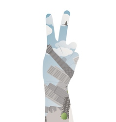 Victory sign double exposure vector